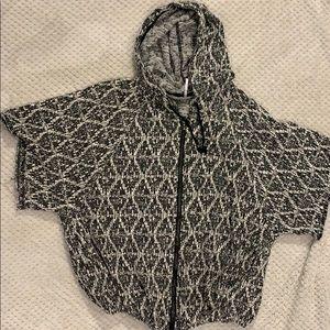 Free People Zip Up Hooded Poncho